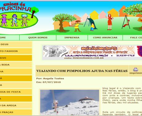 Viajando com Pimpolhos no site carioca das Amigas da Pracinha!