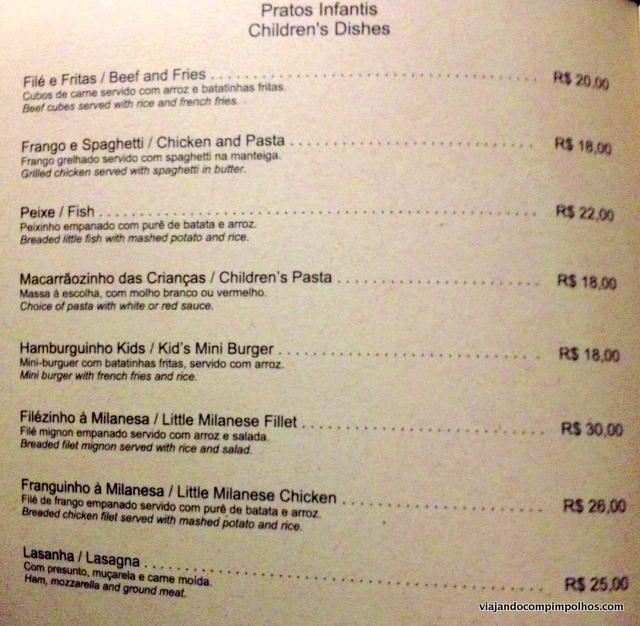 Vila Kalango menu infantil