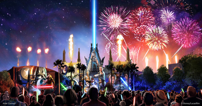 """Starting in summer 2016, a new Star Wars fireworks show, """"Star Wars: A Galactic Spectacular,"""" will debut to guests at Disney's Hollywood Studios. The nightly show will combine fireworks, pyrotechnics, special effects and video projections that will turn the nearby Chinese Theater and other buildings into the twin suns of Tatooine, a field of battle droids, the trench of the Death Star, Starkiller Base and other Star Wars destinations. The show also will feature a tower of fire and spotlight beams, creating massive lightsabers in the sky. (Disney/Lucasfilm)"""