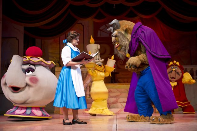 Be Our Guest Ð Relive the enchanting story of Belle and the Beast in the Broadway-style musical ÒBeauty and the Beast Ð Live on StageÓ at DisneyÕs Hollywood Studios. This live-action production showcases dramatic special effects, vivid set pieces, extravagant costumes, showstopping dance numbers and classic songs from the hit film. The 25-minute stage show is performed multiple times daily at the Theater of the Stars along Sunset Boulevard. DisneyÕs Hollywood Studios is one of four theme parks at Walt Disney World Resort in Lake Buena Vista, Fla. (Gene Duncan, photographer)